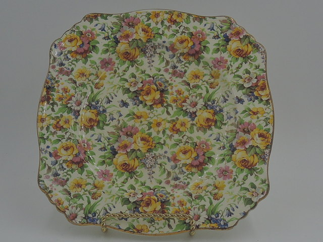 "Vintage Royal Winton Chintz Bedale 8"" Square Plate"