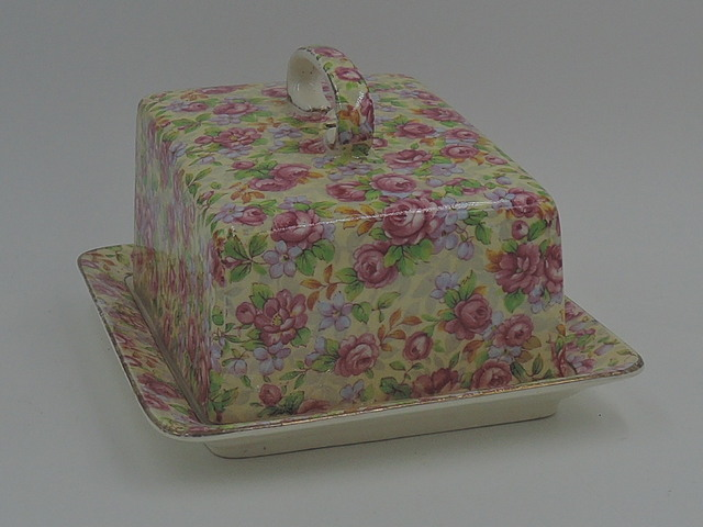 Vintage Royal Winton Chintz English Rose Covered Butter/Cheese Dish Plate