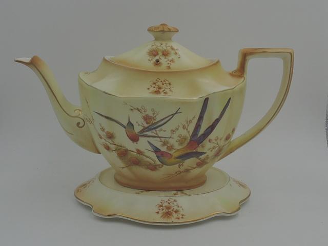Antique Crown Ducal Blush Ware Wild Birds Teapot & Trivet Stand