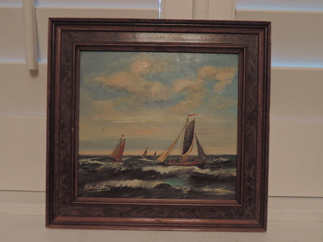 M. Vantyghem, Belgium School, 19th C. Maritime Ships Sailboats Oil on Board Painting
