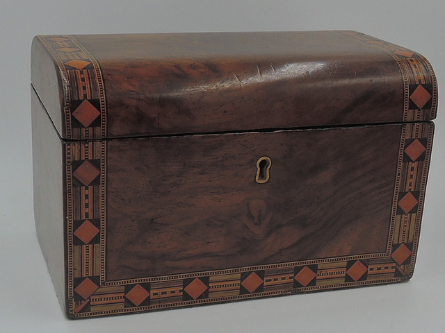 Antique English Inlaid Walnut Wooden Tea Caddy Box c.1855 Mid Victorian Wood