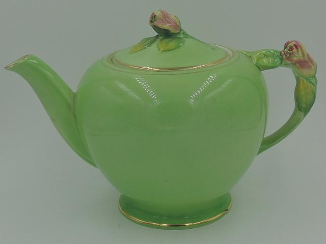 Vintage Royal Winton Green Rosebud Large Teapot