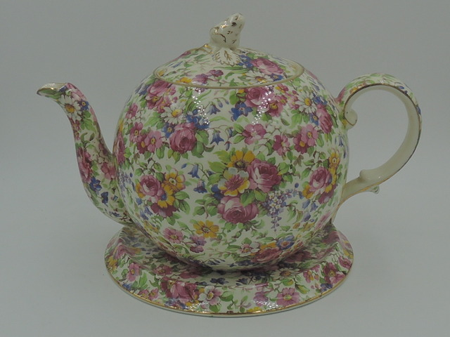 Vintage Royal Winton Chintz Summertime Elite Teapot & Trivet Stand 1930's