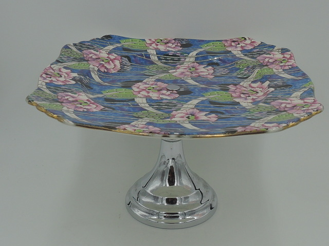 Vintage Royal Winton Chintz Carnation Cake Stand Plate Rare!