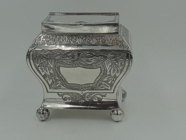 Antique 19th C. Georgian Style Silverplate Tea Caddy Box Wm Briggs & Co. Silver Plate