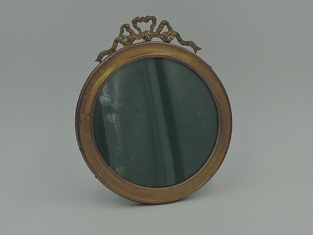 Antique French Brass Photo Frame Ormolu Louis XVI Round Picture Gilded