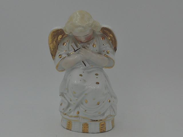 Antique German Porcelain Praying Angel Gilt Cross Religious Statue Figurine