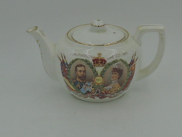 Antique Porcelain Coronation King George V & Queen Mary Tea For One Teapot