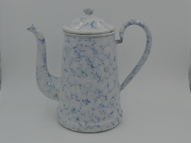 Vintage French Enamel Snow on the Mountain Enamelware Teapot/Coffee Pot