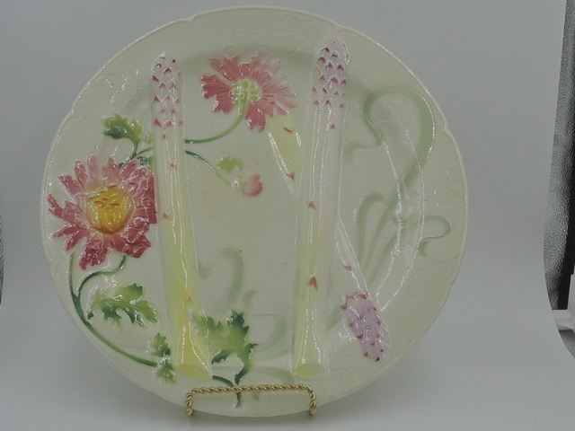 "Antique French K & G St. Clement Majolica Asparagus 10.25"" Plate Luneville"