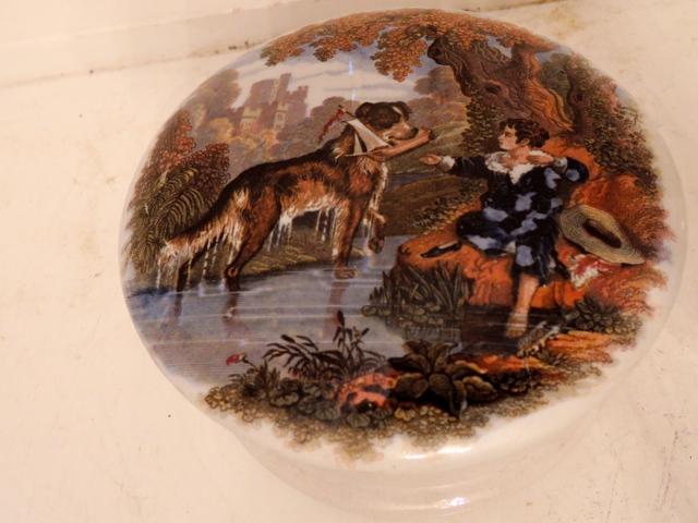 Antique English Pratt Ware Jar/Pot Transfer Lid Good Dog & Boy 1840's Prattware