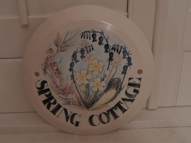 Iden Pottery Spring Cottage Hand Made Sign Garden House Rye Sussex England Plaque