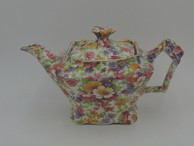 Vintage James Kent Chintz Du Barry Teapot 2 Cup Old Mark