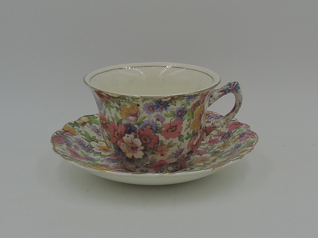Vintage James Kent Chintz Du Barry Cup & Saucer Old Mark Teacup