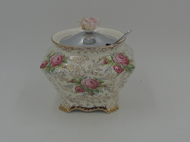 Vintage James Kent Chintz June Roses Sugar Bowl Jam Jar Pink Roses