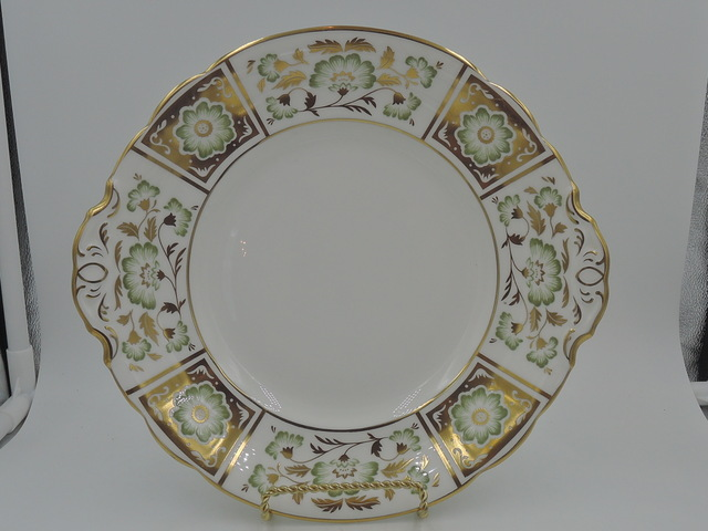 Vintage Royal Crown Derby Green Panel Handled Cake/Serving Plate Dish Bone China