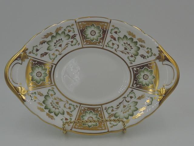Vintage Royal Crown Derby Green Panel Under Plate Serving Dish Bone China