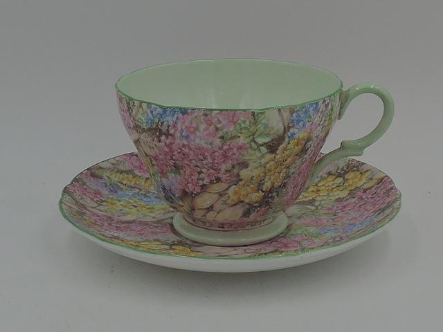 Vintage Shelley Chintz Rock Garden Green Henley Shape Cup & Saucer Teacup