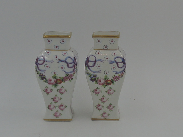 Gorgeous Pair of Limoges Petite Vases Pink Roses Swags Blue Bows Ribbons