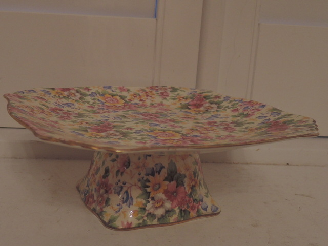 Vintage Royal Winton Chintz Cheadle Compote Cake Plate Serving Dish
