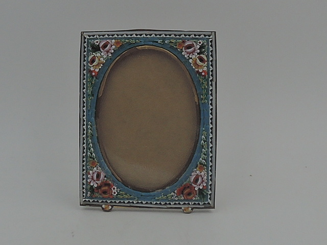 "Antique Italian Mosaic Photo Frame 3"" x 2"" Picture Roses Blue w/Glass"