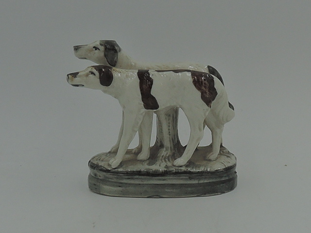 Antique Staffordshire Pair of English Hunting Dogs Figurine