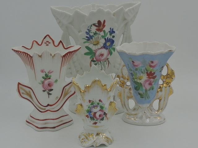 Vintage Set of 4 French Porcelain Flower Vases Handpainted Beautiful!