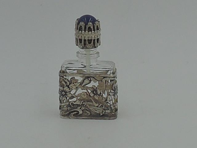 Vintage Silver Filigree Petite Perfume Bottle w/Dabber Art Deco