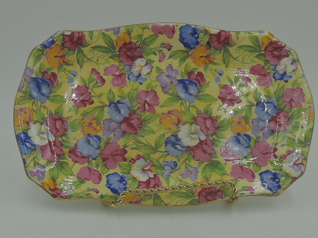 Vintage Royal Winton Chintz Sweet Pea Serving Tray Dish