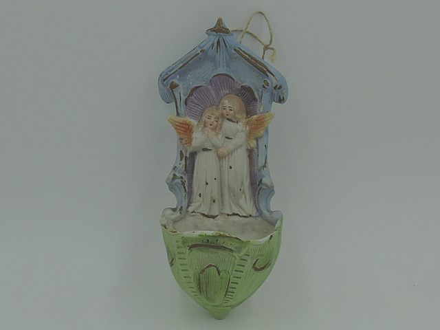 Vintage Bisque Belgium/French Holy Water Font w/Angels Benitier