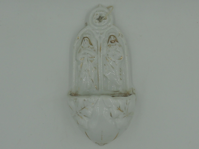 Vintage Porcelain China Mary & Joseph Belgium/French Holy Water Font