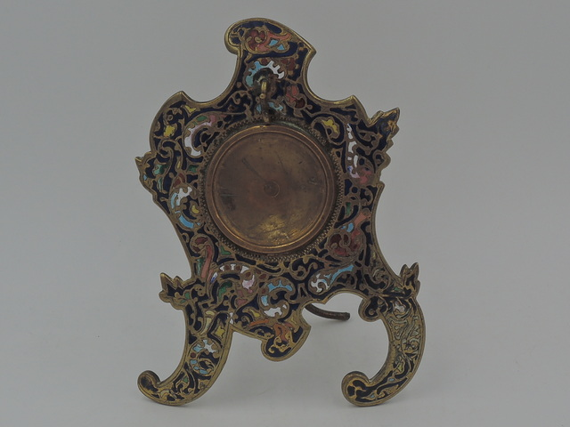 Vintage French Brass Champleve Enamel Pocket Watch Holder Stand