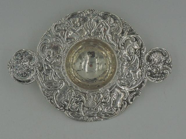 Antique Dutch Silver Repousse Tea Strainer Handled Server Cherubs & Fairies c. 1900