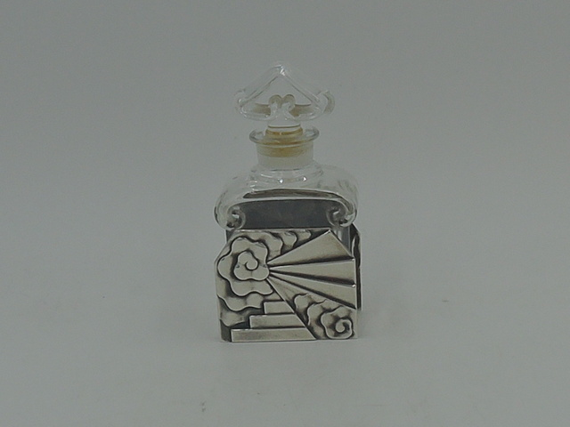 Vintage French Guerlain Baccarat Perfume Bottle w/Art Deco Silver Holder