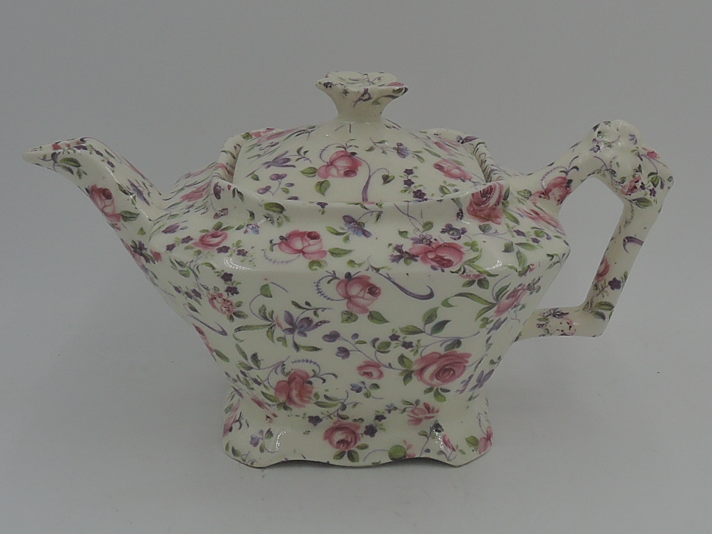 Vintage James Kent Chintz Chelsea Rose Dubarry Teapot 2 Cup Pink Roses