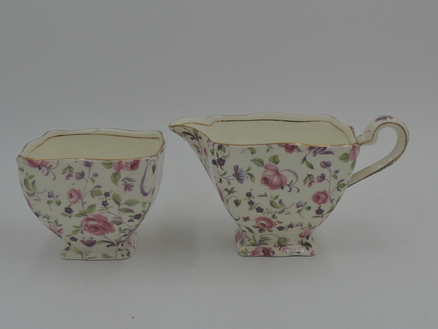 Vintage Royal Winton Chintz Rose Dubarry Creamer & Sugar Bowl/Cup Set Cream