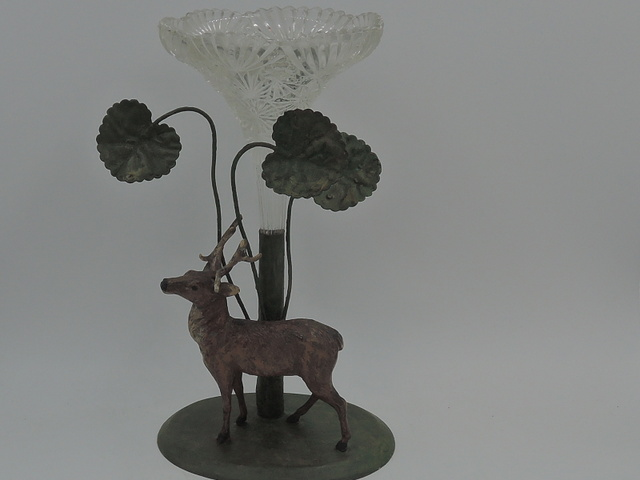 Antique English Metal Brass Deer/Stag & Cut Glass Epergne Vase 1900's