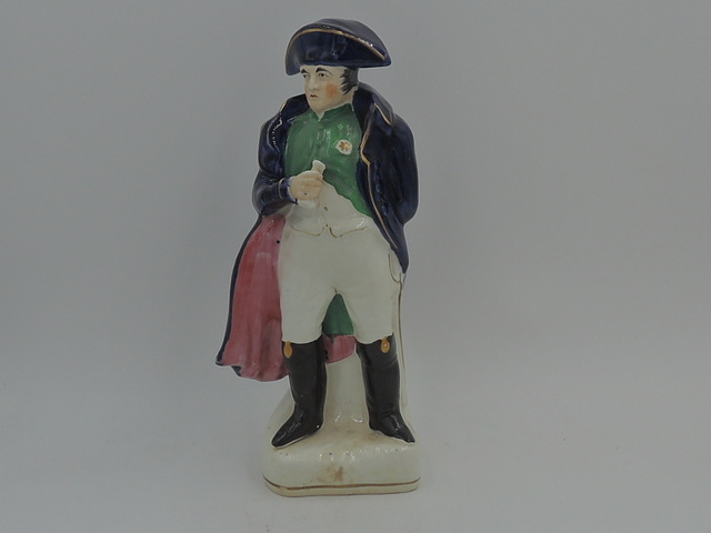 Antique English Staffordshire Pottery Napoleon Statue Figurine c.1850