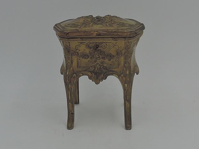 Antique French Gilt Ormolu Brass Orfevrerie Dilecta Casket Jewelry Box