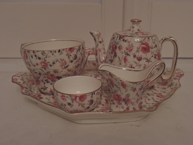 Vintage Royal Winton Chintz Rose Dubarry Breakfast Set Tea For One Teapot
