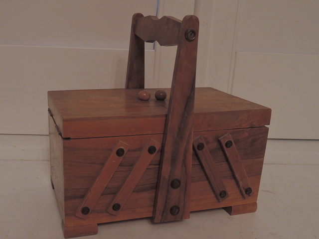 Vintage English Wooden Fold Out Accordion Sewing Box