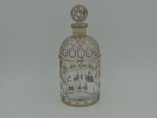 Old Vintage French Guerlain Guilded Bees Empty Unlabeled Perfume Bottle
