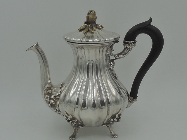 Vintage French Armand Frenais Silverplate Teapot w/Flower Bud Finial Silver Metal