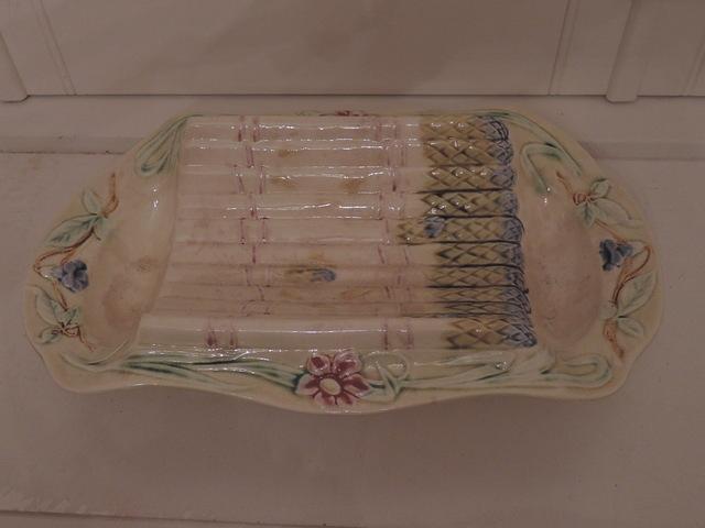 Antique French Majolica Asparagus Cradle Serving Dish Platter Plate