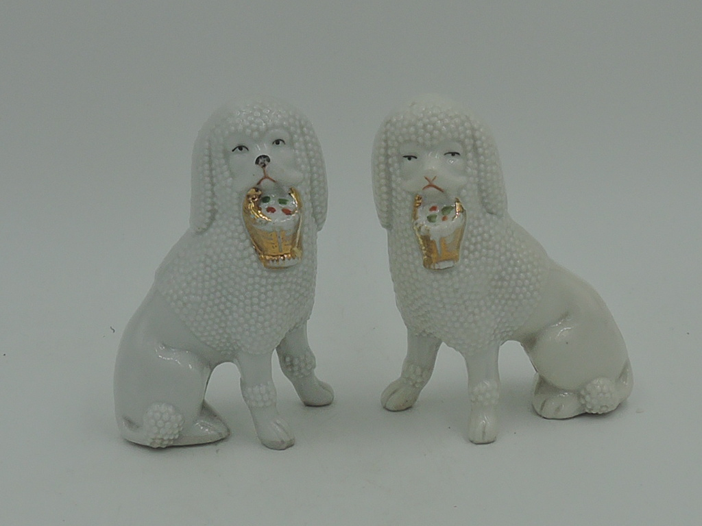 Antique Pair German Porcelain Poodle Dogs w/Baskets Figurines Statues 1880's