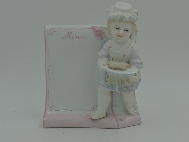 Vintage French Porcelain Menu Plaque Bistro Display Stand w/Winged Cherub