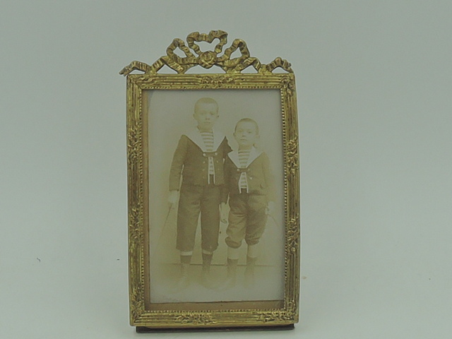 "Antique French Gilt Ormolu Brass Photo Frame 3.5"" x 2 1/4"" Picture Louis XVI Bow"