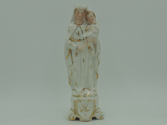 Antique 19th C. French Porcelain Madonna & Child Figurine Statue Old Paris Vieux