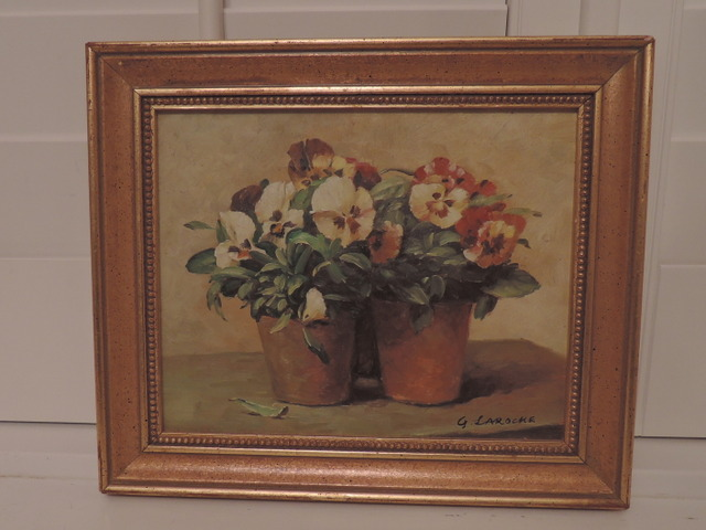 French Artist G. Laroche Oil on Canvas Gilt Frame Pansies Still Life Signed Painting