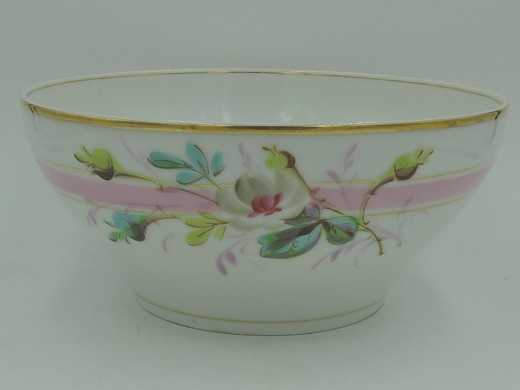 Beautiful Large Vintage French Floral Pink & White Cafe Au Lait Bowl Kitchen